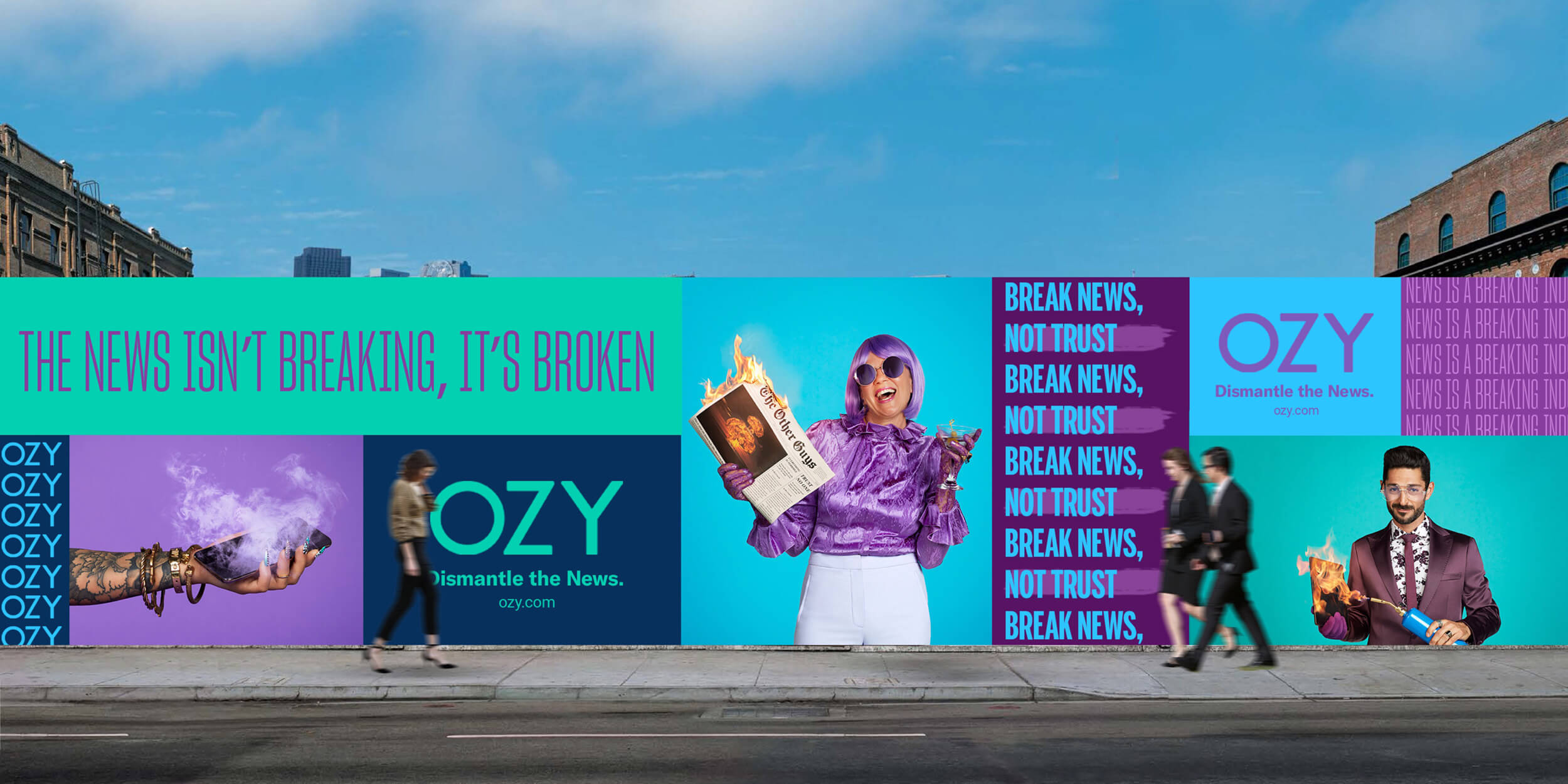 A street view of the Ozy ad campaign