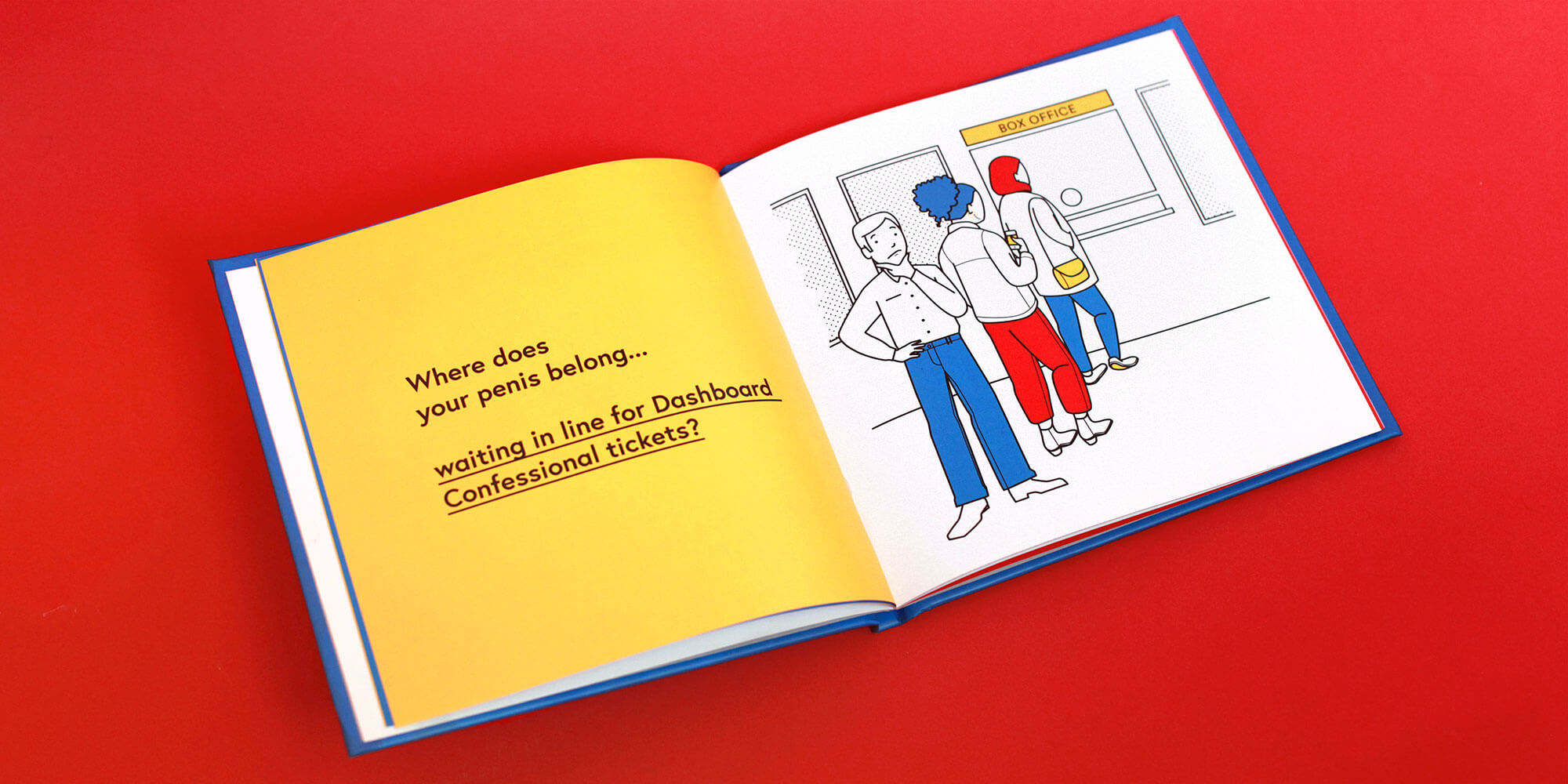 A photograph of the book 'Where Does Your Penis Belog?' open to the page where the character is deciding where his penis belongs while in line for concert tickets
